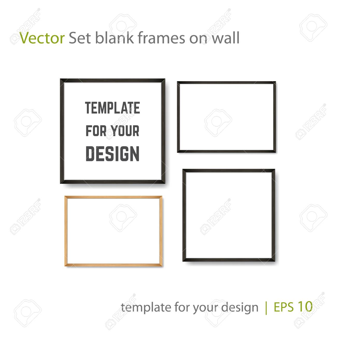 Set of Realistic Light and Dark Wooden Picture Frames on a White Wall, isolated on white. Design Template for Mock Up. Square and rectangle A4 shapes. Vector - 111849127