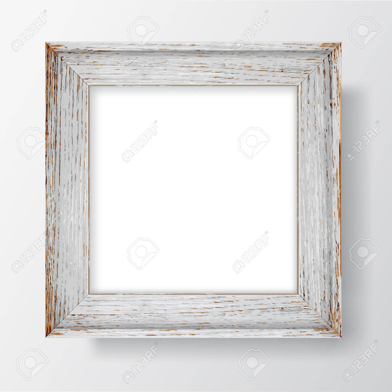 Square Blank picture frame template. Realistic wooden frame with shadows on white wall for photo or poster. Vector - 125053453