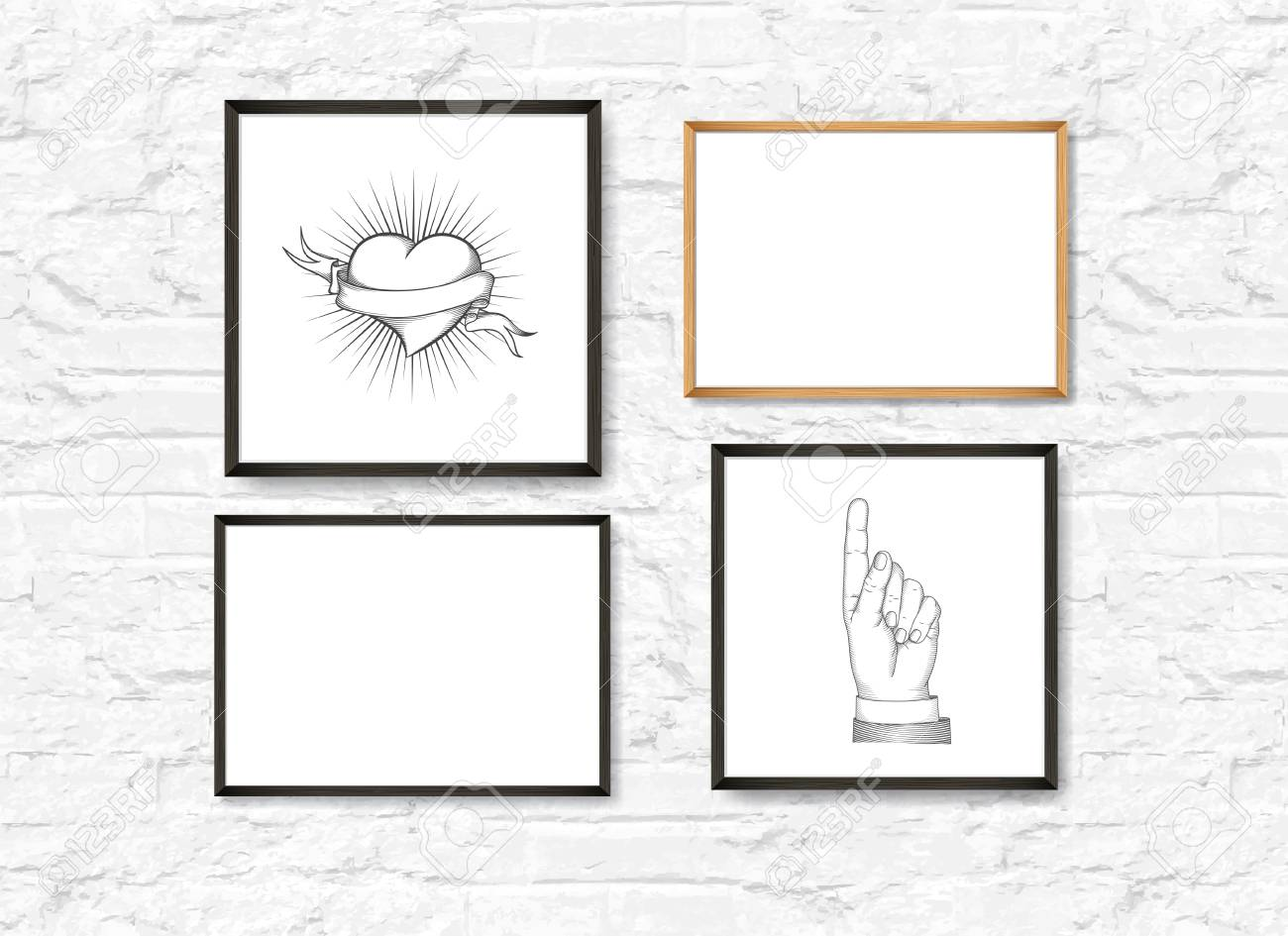 Set of Realistic Light and Dark Wooden Picture Frames on a White brick Wall. Loft interior. Design Template for Mock Up. Square and rectangle A4 shapes. Vector - 125053454