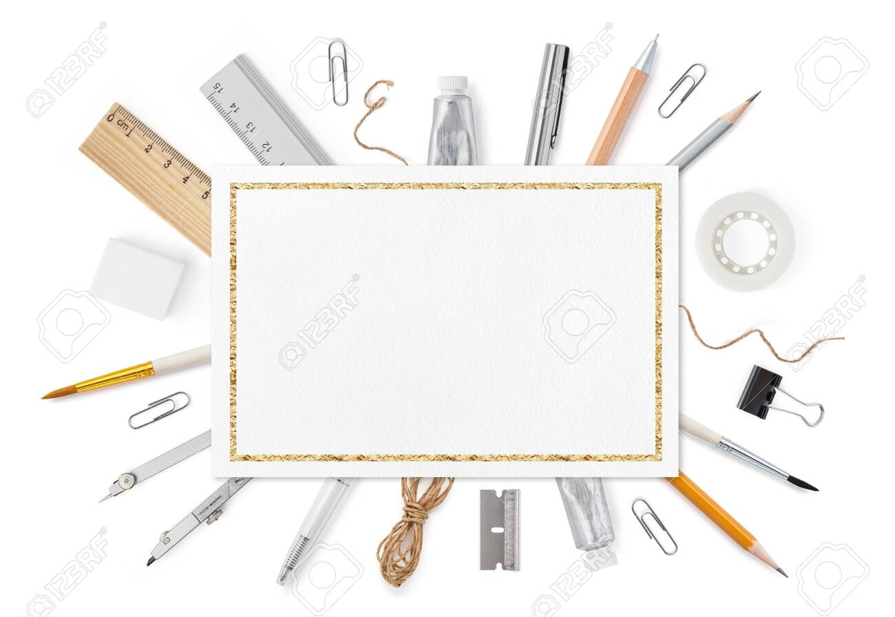 Blank sheet of paper A4 with stationery supplies on white. Front cover top view. Mockup template to your design with space for text or image. Horizontal orientation. - 133969641