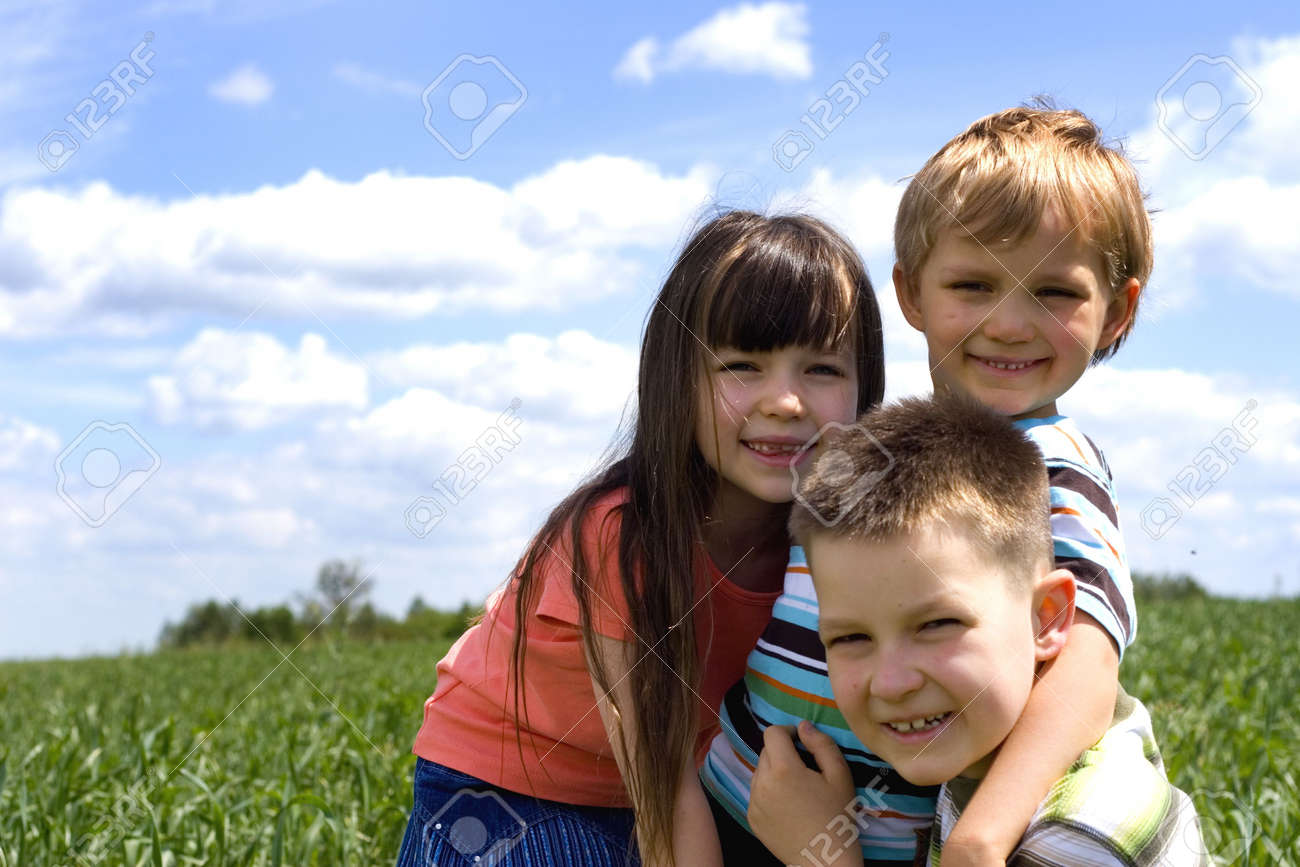 children on a meadow Stock Photo - 695912