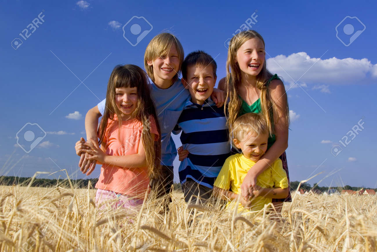 Smiling children in cereal Stock Photo - 720852