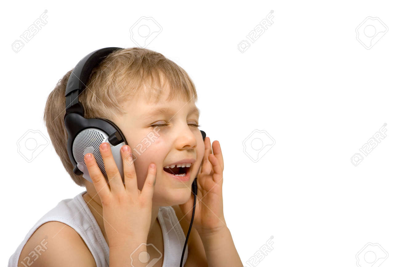 Happy Boy Listening with Headset Stock Photo - 870602