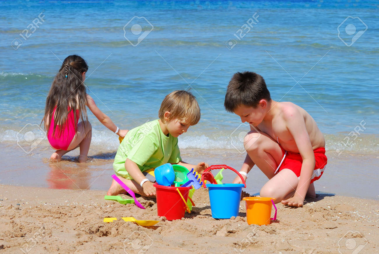 children playing at the beach Stock Photo - 1201773