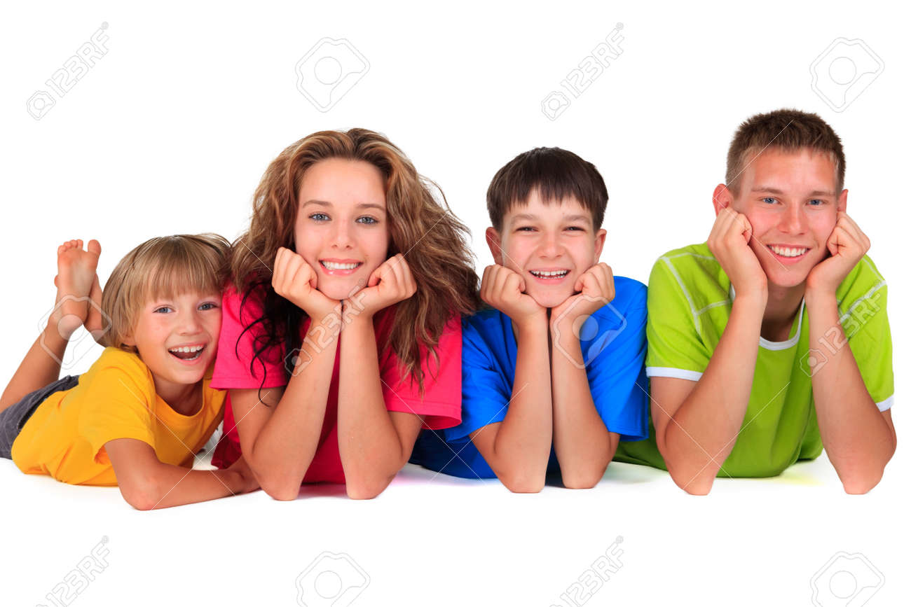 Happy sisters with brothers - 17345227