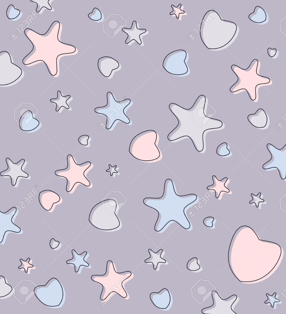 cute pastel background with hearts and stars-wallpaper stock photo