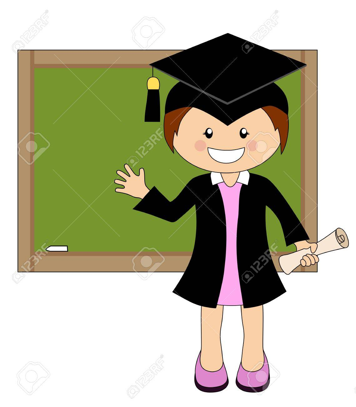 Cartoon Girl In Cap And Gown Graduate In Front Of School Board ...