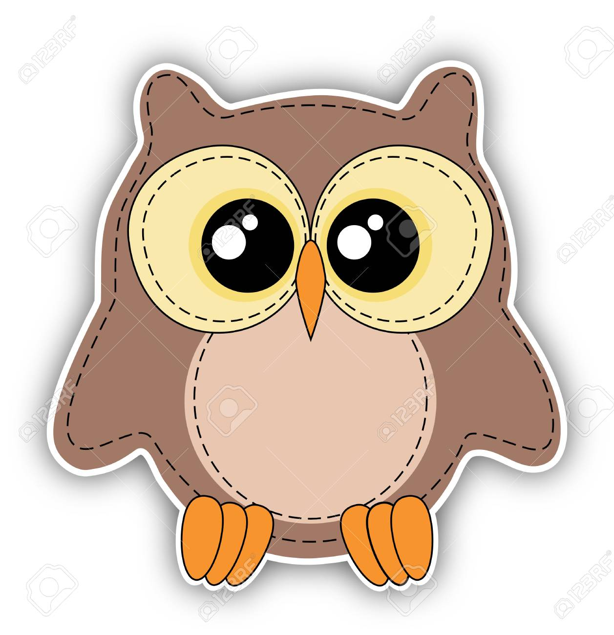 cute owl label on white background - stitching style stock photo