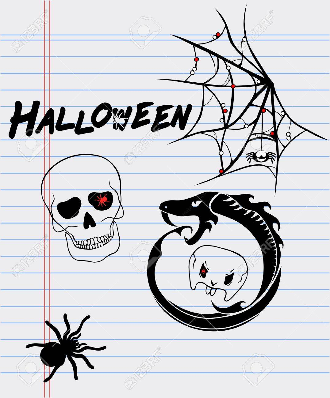 Halloween Drawings On A Sheet Of Paper-spider, Skull, Ouroboros ...