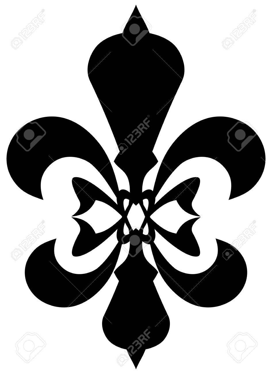 Fleur De Lis Symbol Black Silhouette Isolated On White Background