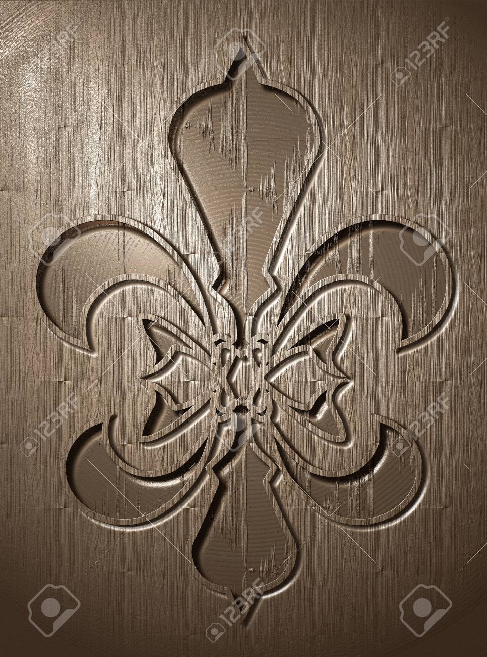 Fleur De Lis Relief On Wooden Background Engraving Style Stock