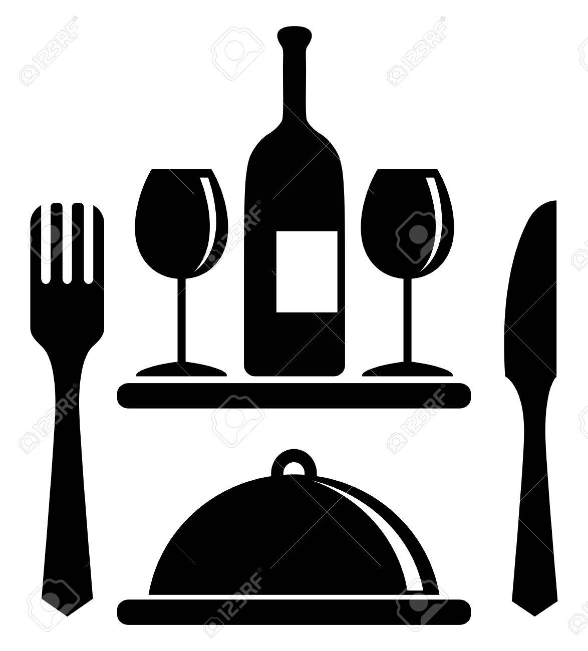 wine bottle glasses serving tray fork knife royalty free rh 123rf com free vector wine clipart free vector wine labels