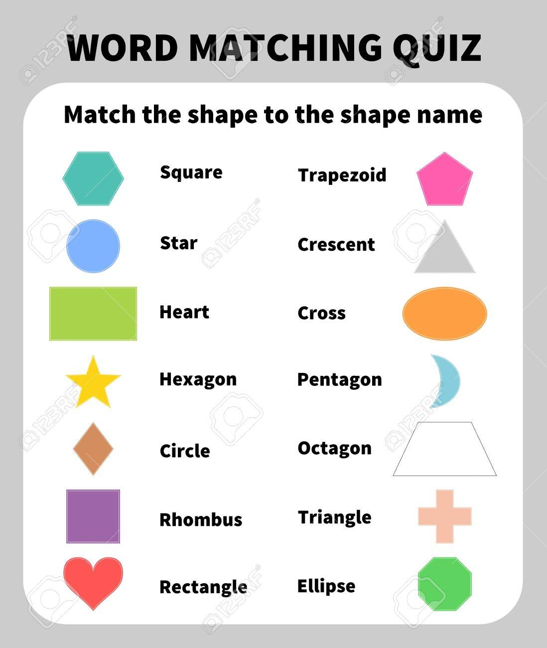 Basic Shapes Matching Quiz  Learning 2D shapes for children education