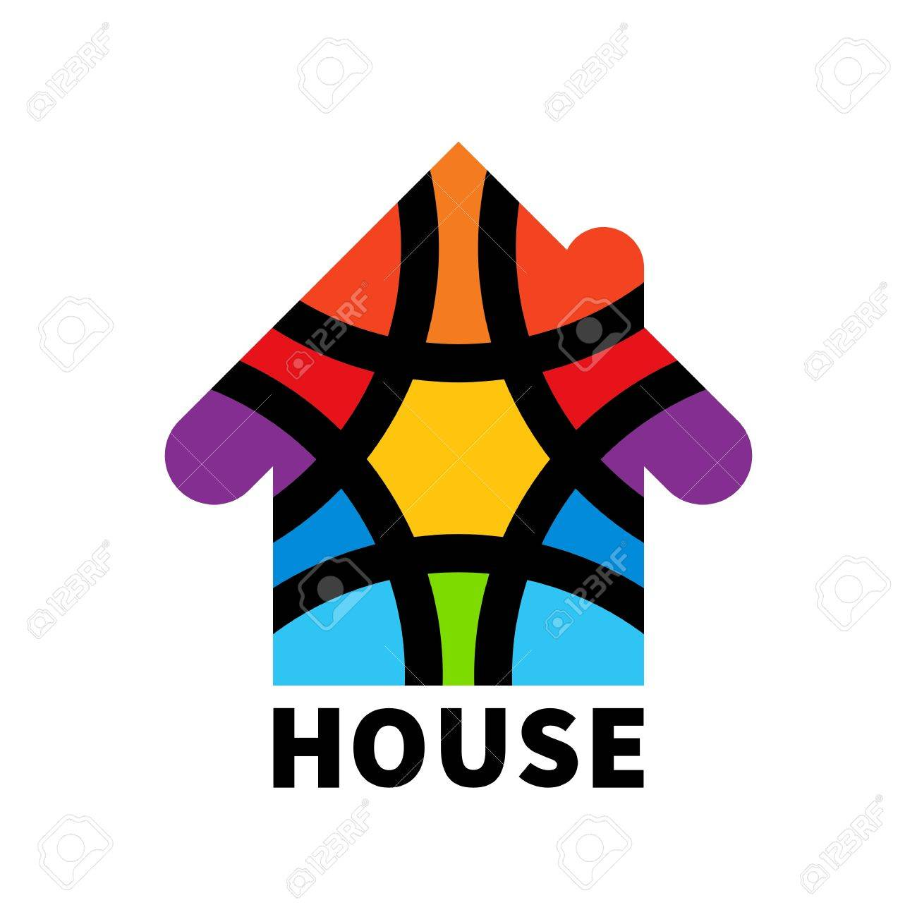 Real Estate House. Icon. Design Template Element. Colorful House ...