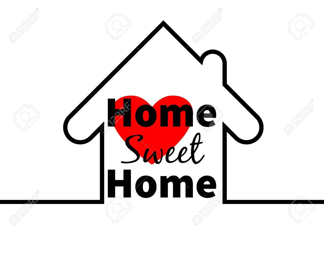 Home Sweet Home Text. House Outline. Red Heart. Minimal Card ...