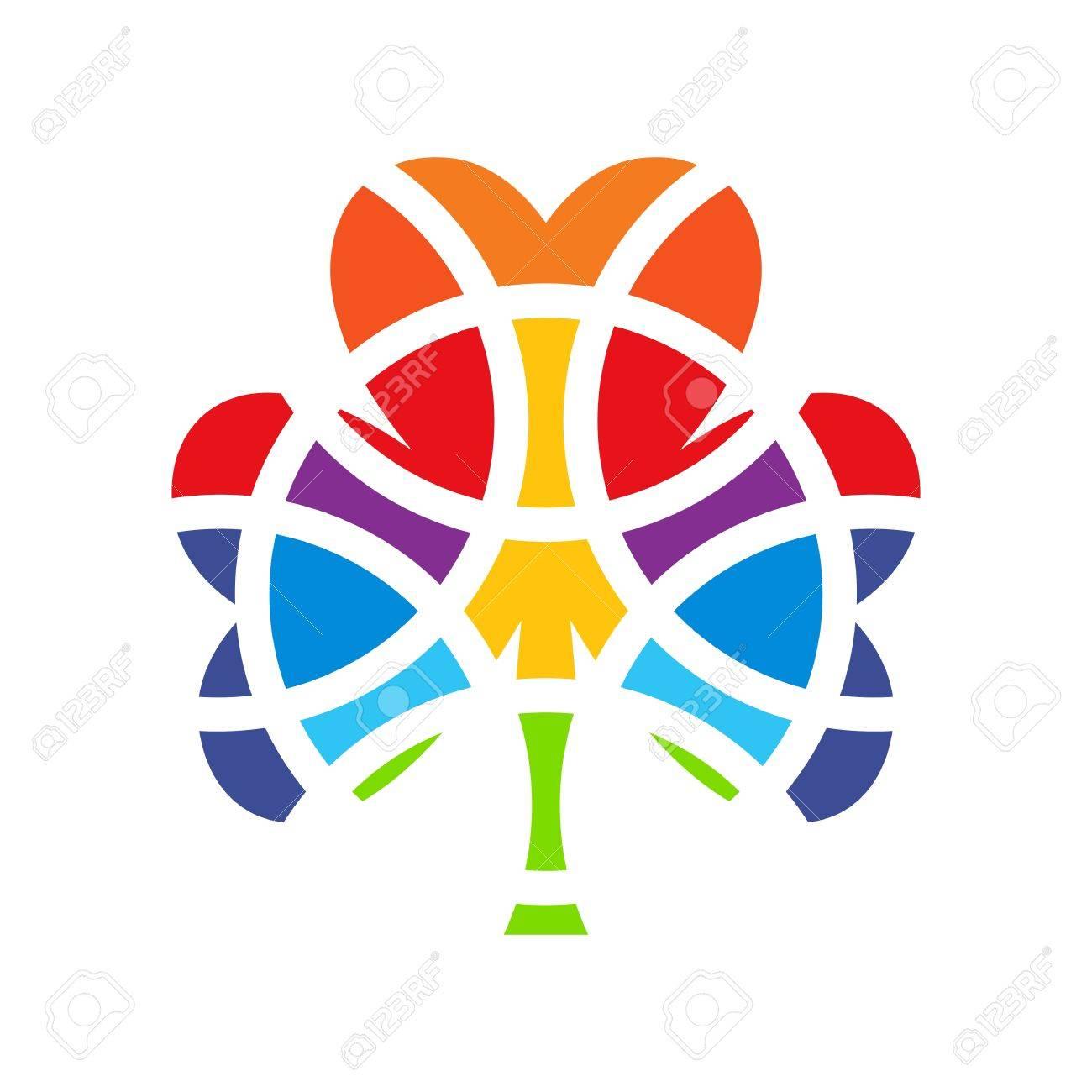 shamrock design element mosaic style colored four leaf clover icon white background