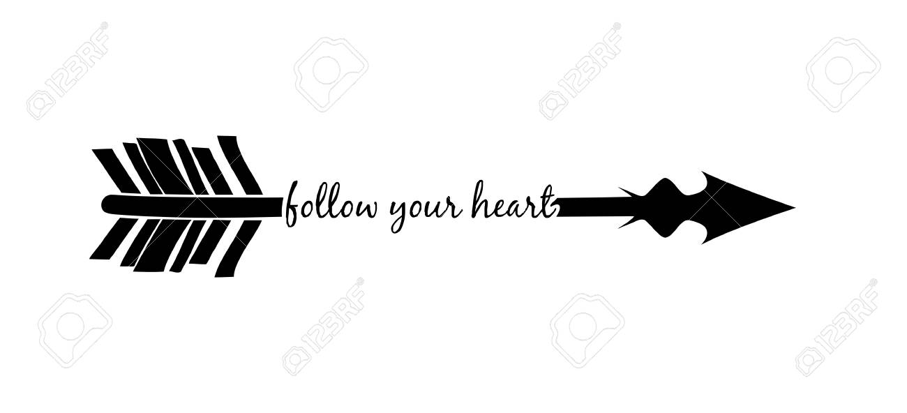 Follow Your Heart With Arrow Silhouette Isolated Over White Background Royalty Free Cliparts Vectors And Stock Illustration Image 77996286 Here you can explore hq arrow silhouette transparent illustrations, icons and clipart with filter polish your personal project or design with these arrow silhouette transparent png images, make it. follow your heart with arrow silhouette isolated over white background