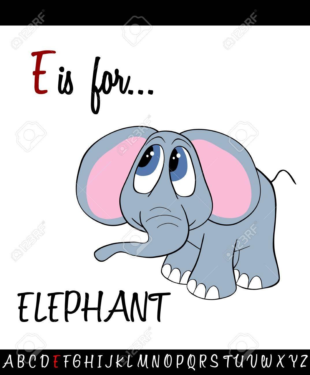 Illustriertes Vokabular Arbeitsblatt Mit Cartoon ELEPHANT Für Kinder ...