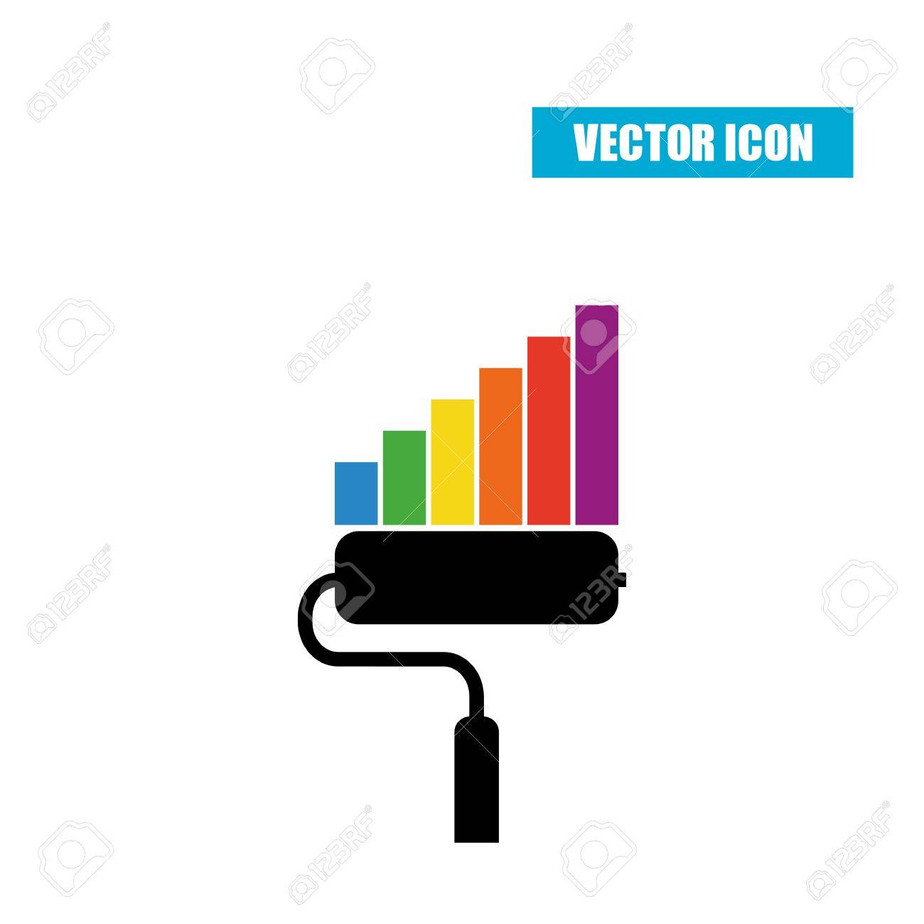 Drop Shadow Diagram Diy Enthusiasts Wiring Diagrams 1986 Honda Paint Roller Statistic Chart Flat Icon With Isolated Rh 123rf Com