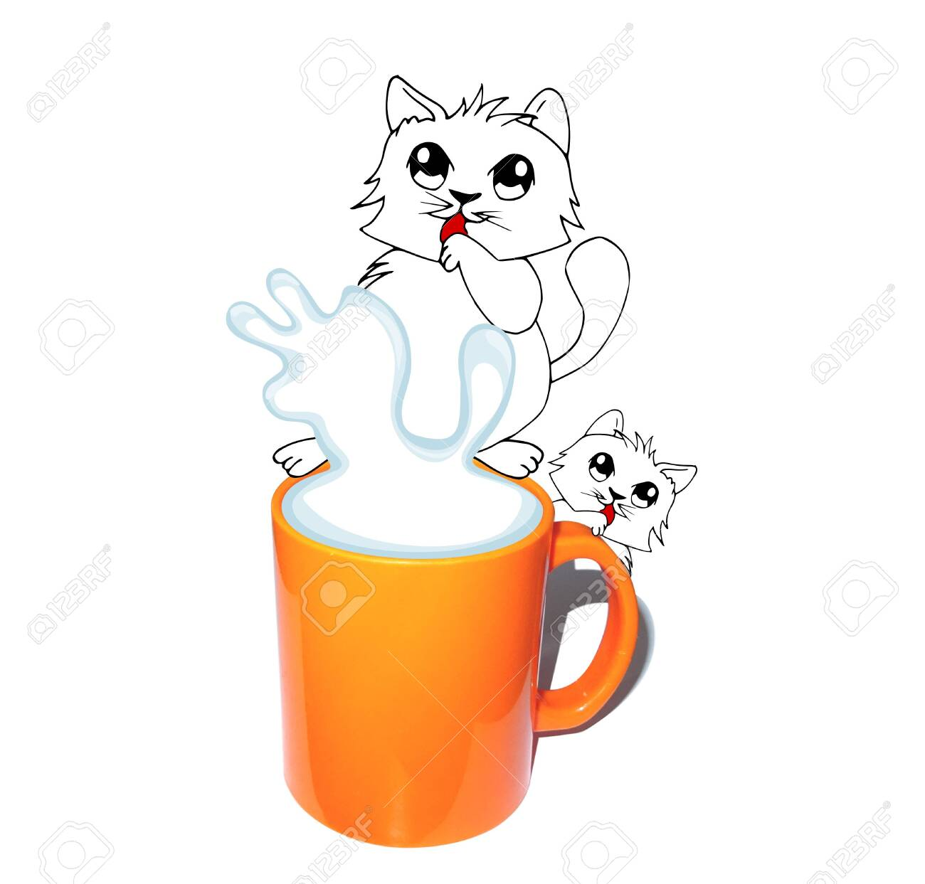 Funny White Cat With A Big Mug Of Milk And Small Kitty Drawing Stock Photo Picture And Royalty Free Image Image 143430396
