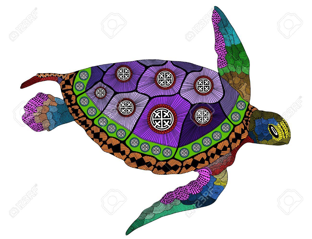 Tortuga En Color Estilizada. Dibujados A Mano De Ilustración ...