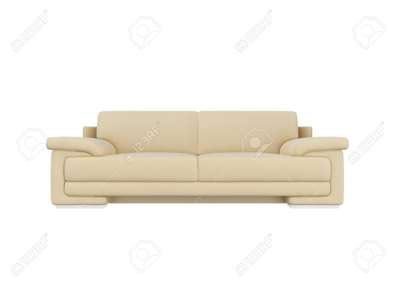 3d rendering ivory leather sofa front view stock photo 83596337