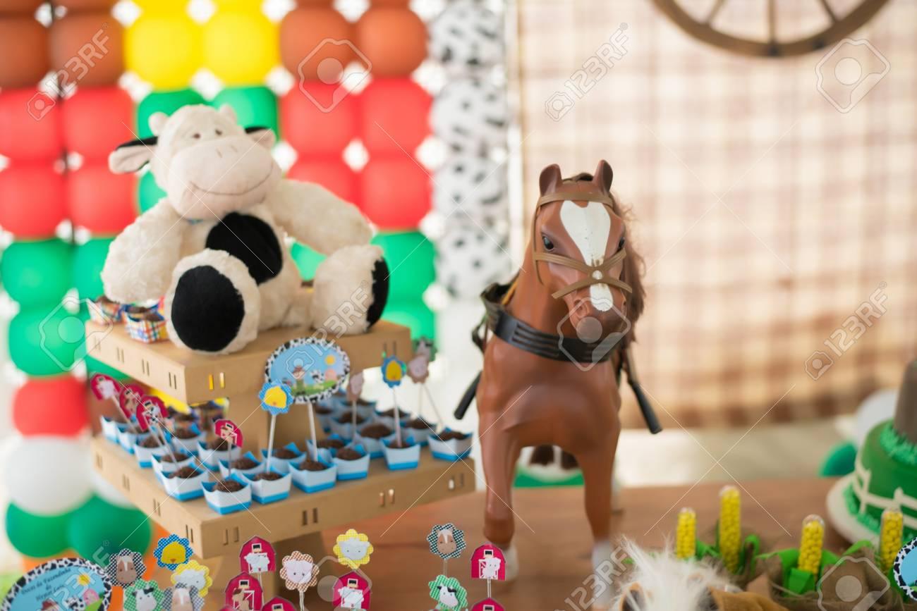 Birthday Table Decorated Farm Theme