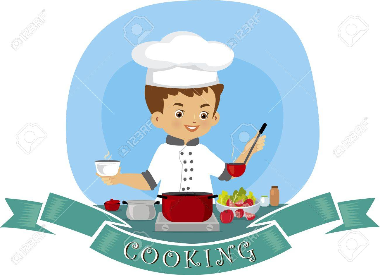 A vector illustration of a young man cooking in the kitchen Stock Vector - 21049379