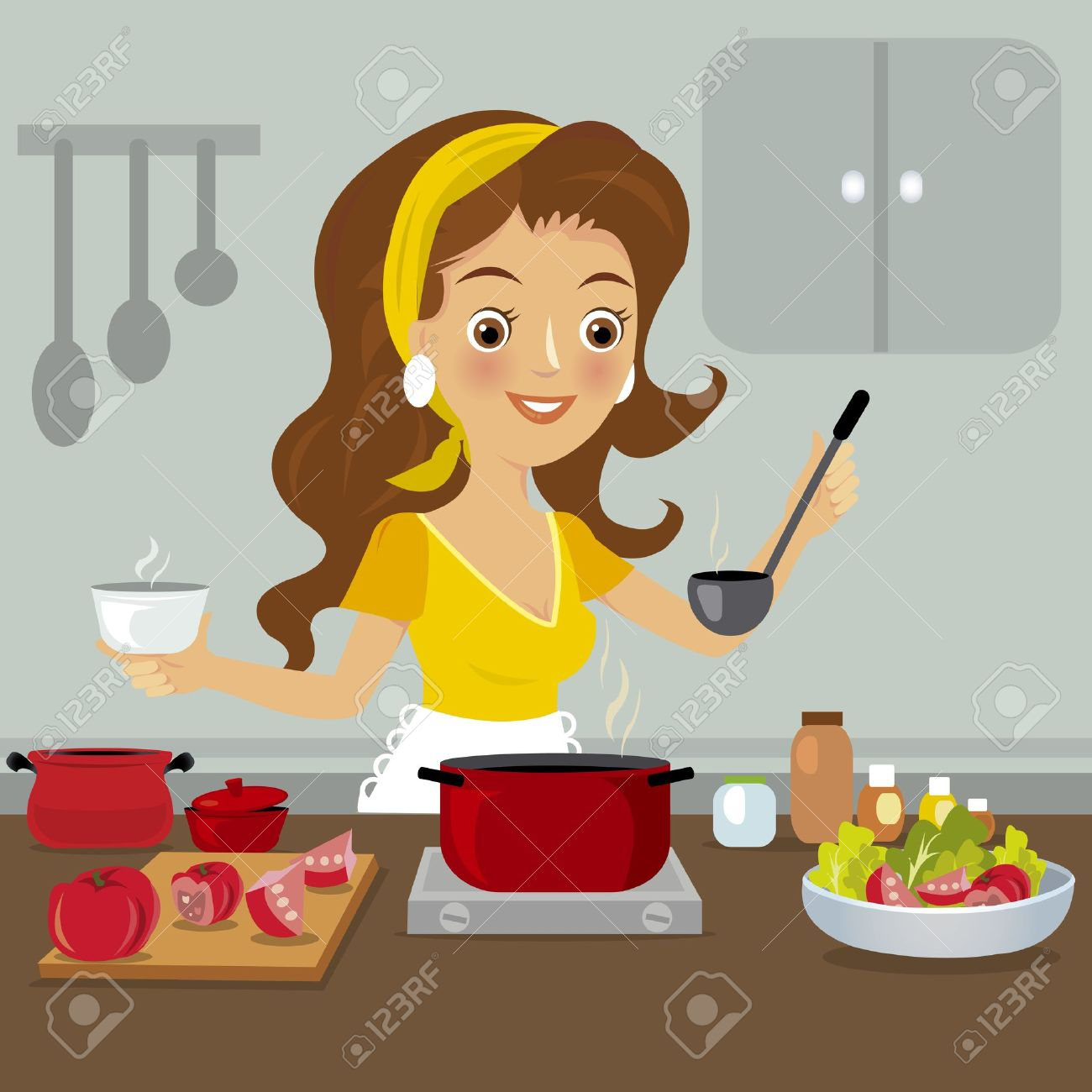 Selection of cartoons on cooking kitchens food and eating - Woman In Kitchen Stock Vector 21040613