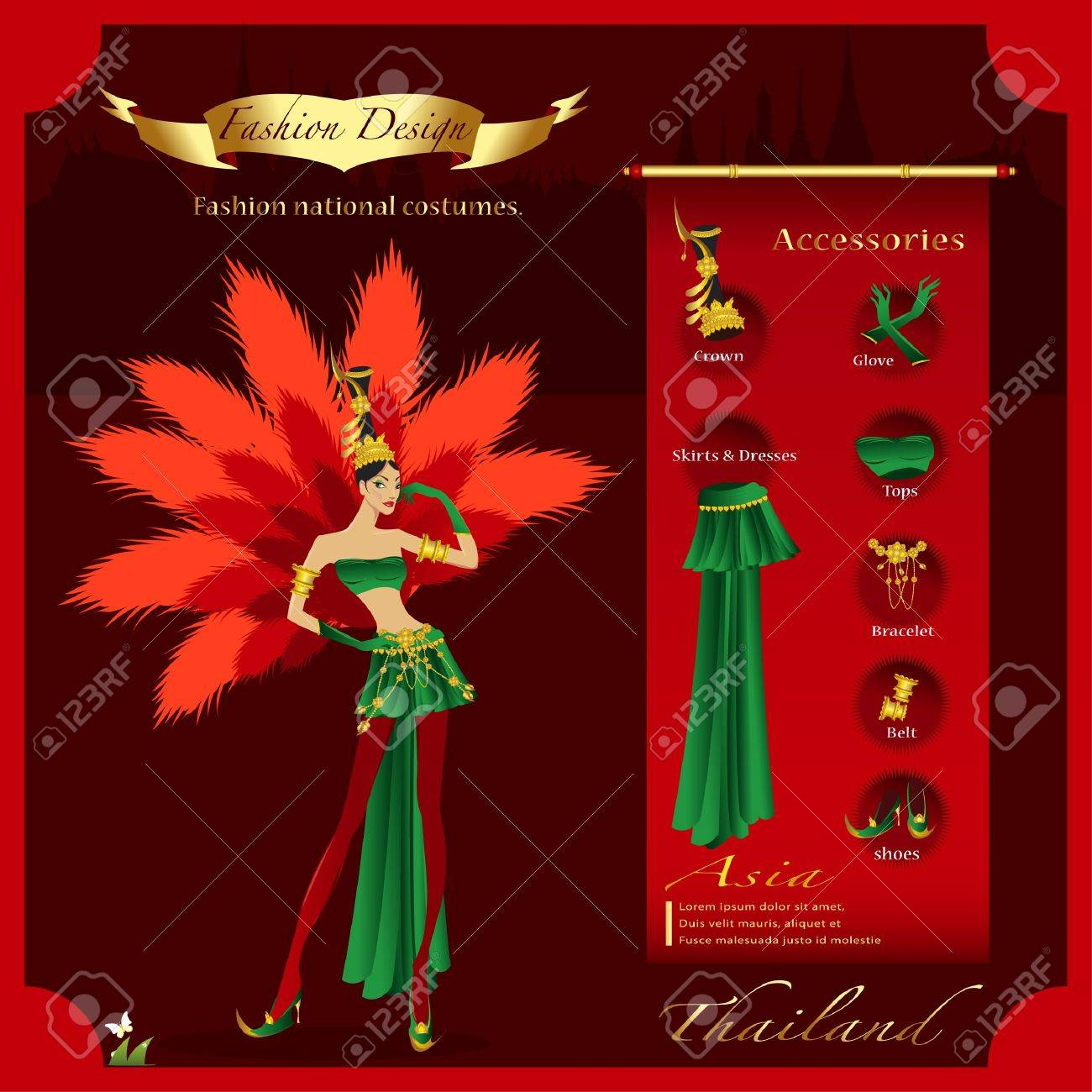 Fashion Design infographic The Asian nation fancy dress Stock Vector - 21446950