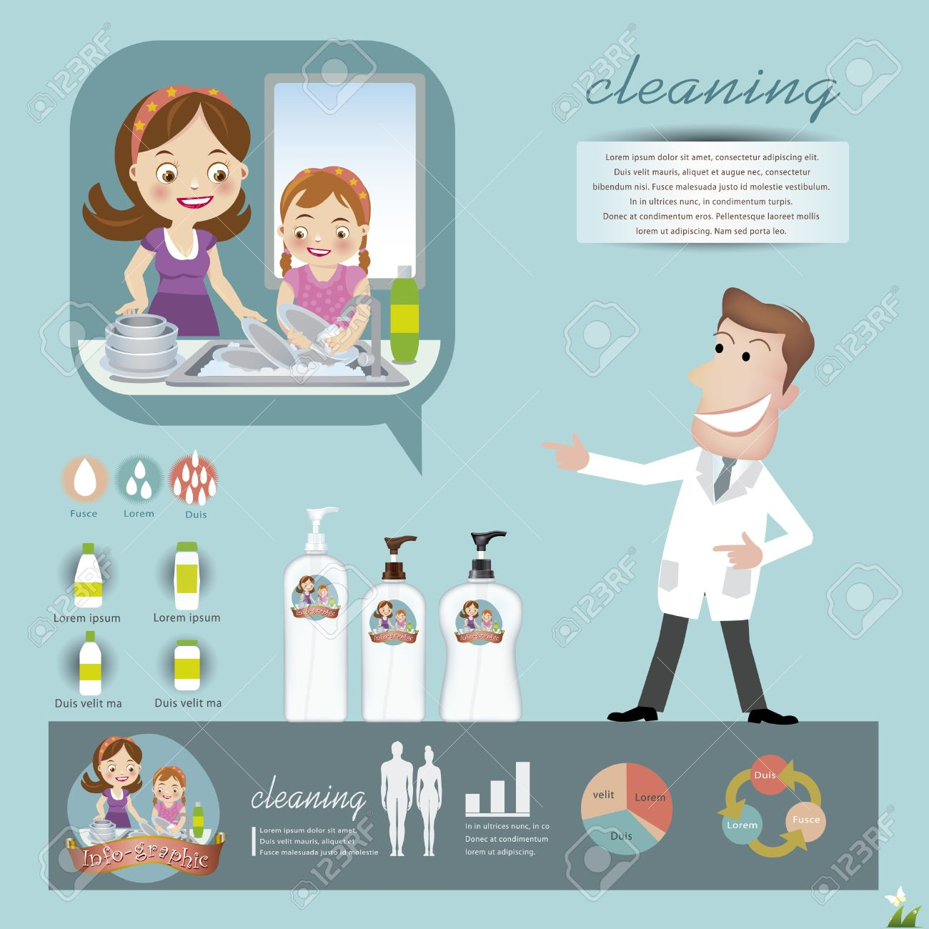 infographics of washing dishes Stock Vector - 21420189