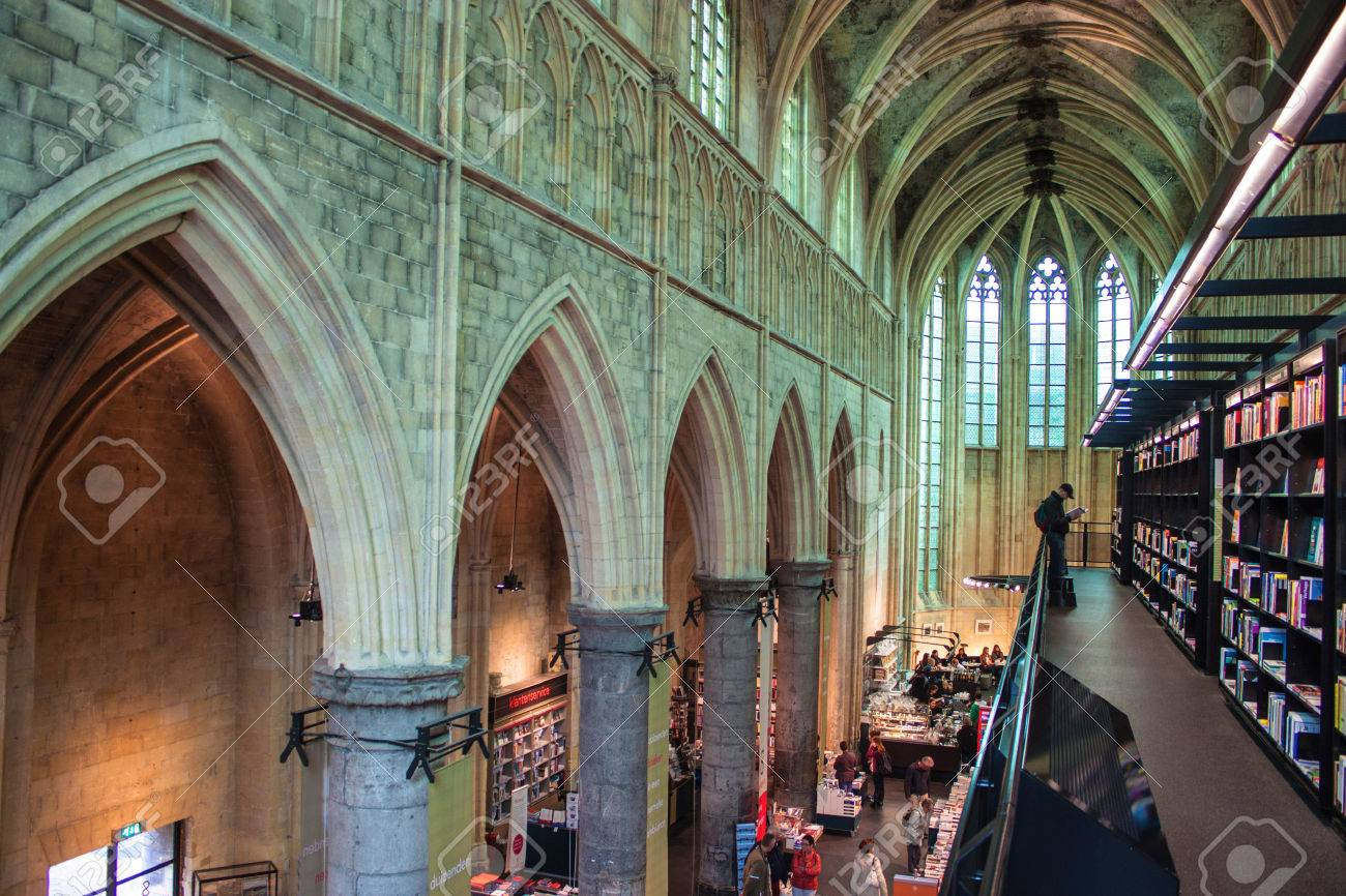 """MAASTRICHT, JUN 1: Dominican church converted into a bookstore in Maastricht, Netherlands on Jun 1, 2013. In 2008 The Guardian called it the """"best bookstore in the world"""". - 30708158"""