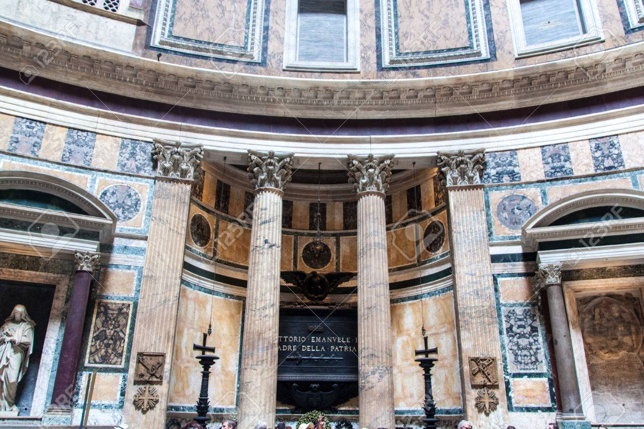 Interior Of Pantheon In Rome Italy Is A Famous Monument Ancient Roman