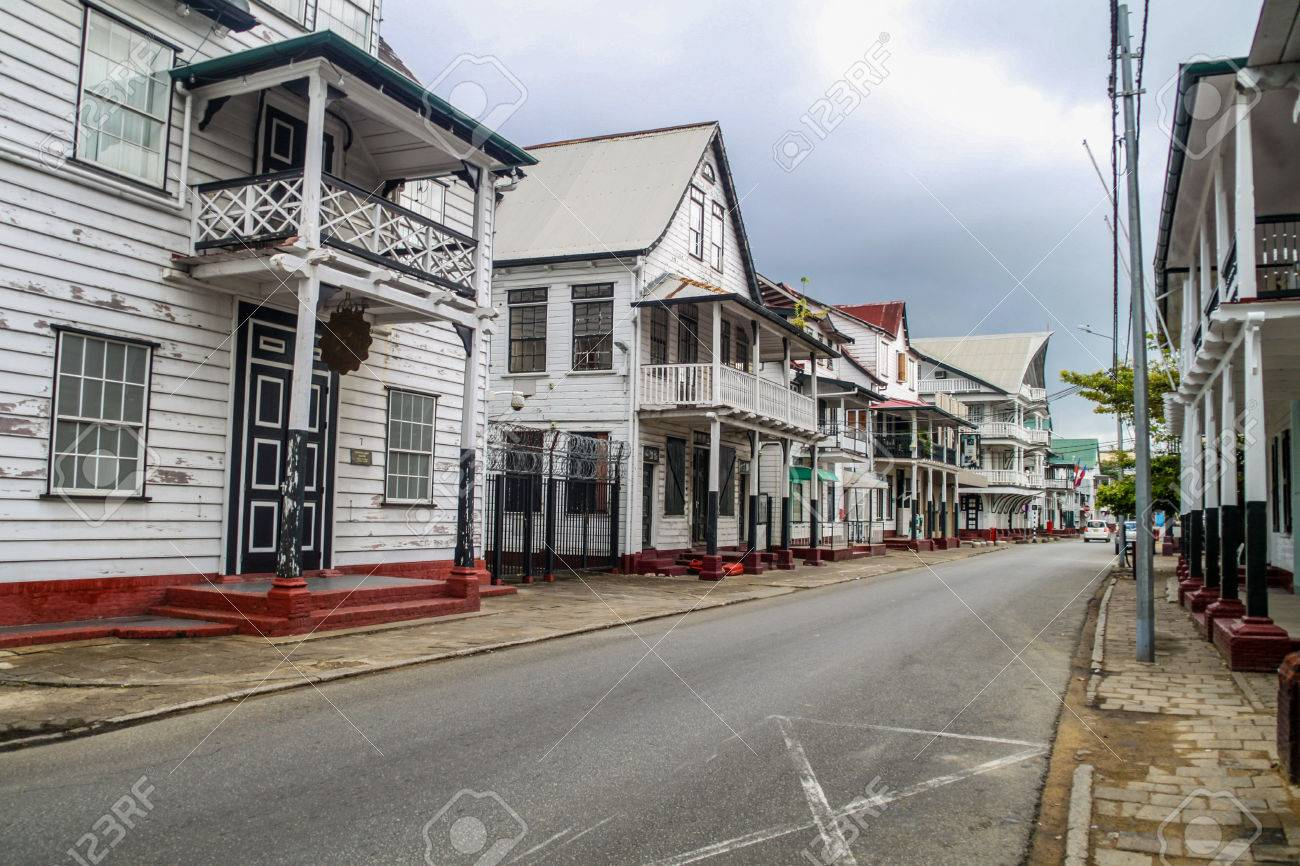 Street with old colonial buildings in Paramaribo, capital of Suriname. - 60151008