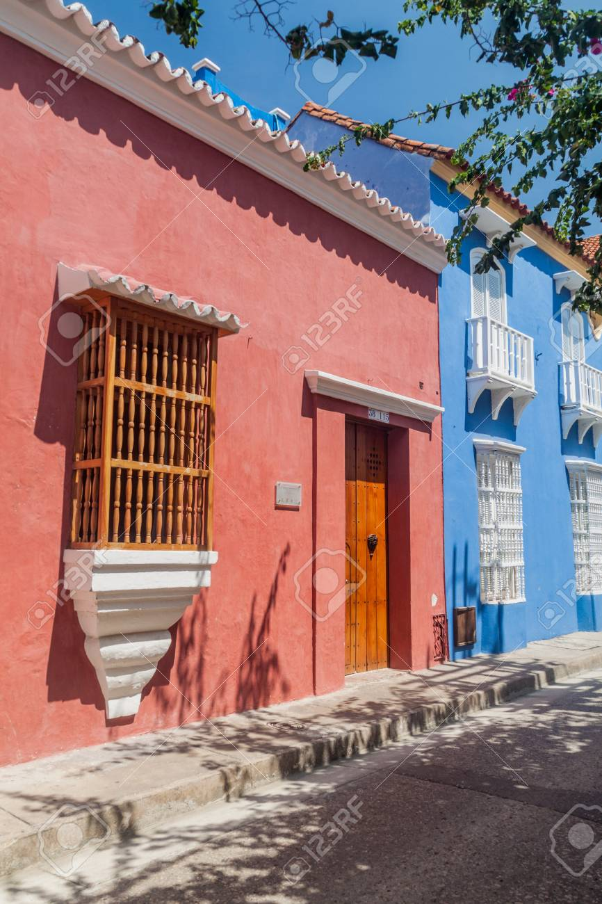 View Of The Colorful Houses In Center Of Cartagena, Colombia. Stock ...