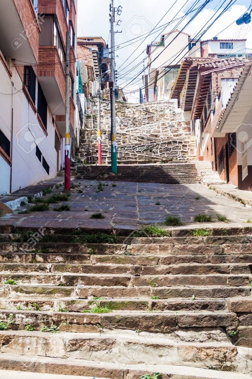 View Of A Steep Street And A Stairway In The Center Of San