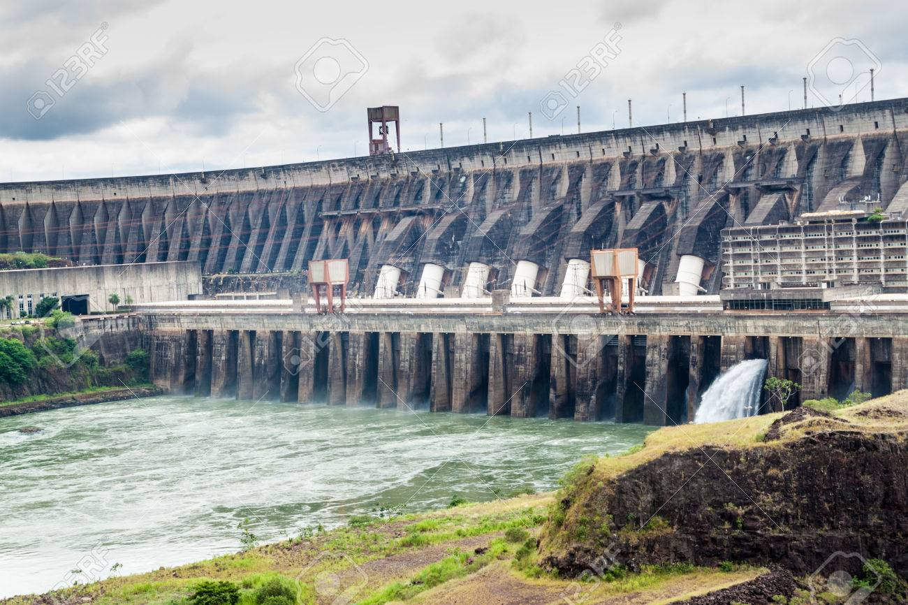 Itaipu dam on river Parana on the border of Brazil and Paraguay - 61071960