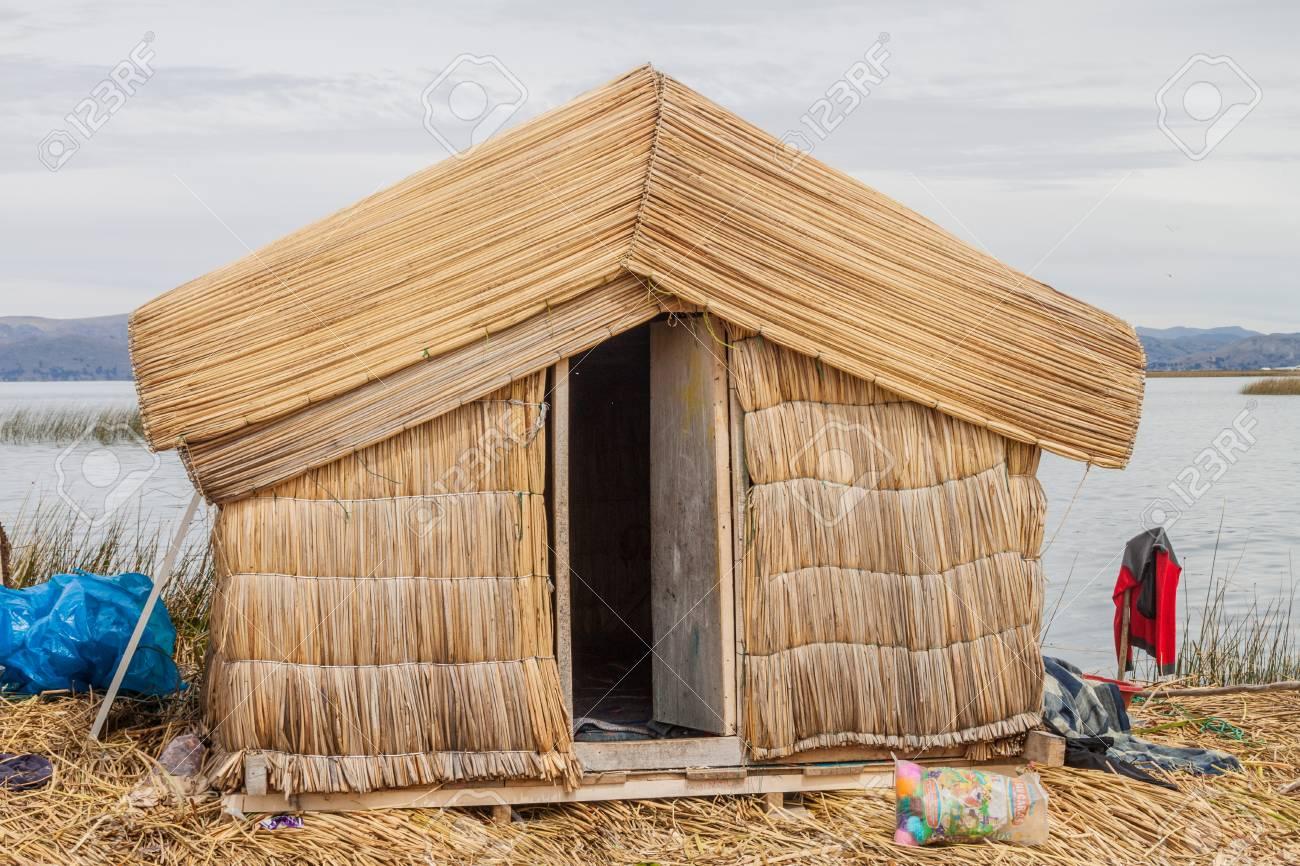 Reed Hut At Uros Floating Islands Titicaca Lake Peru Stock Photo