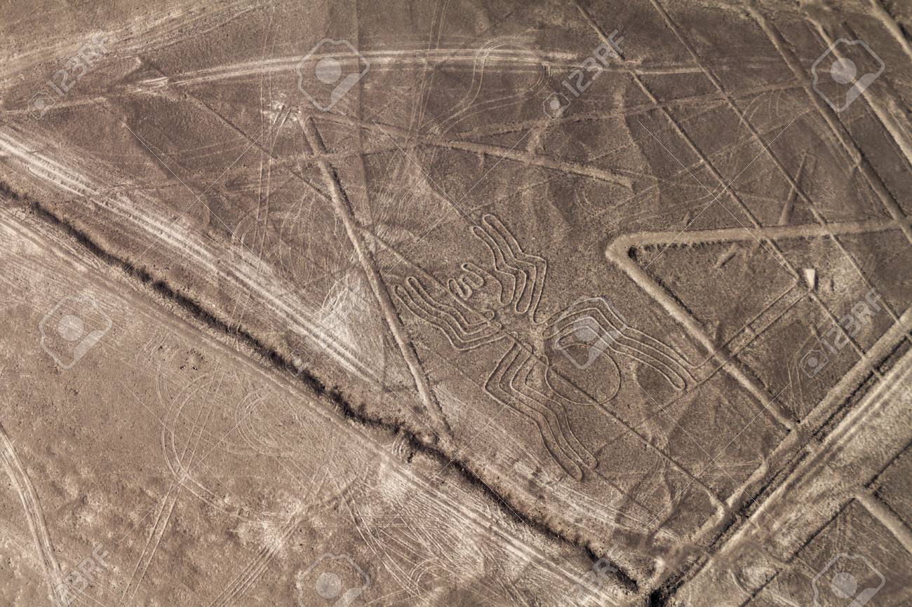 Aerial view of geoglyphs near Nazca - famous Nazca Lines, Peru. In the center, Spider figure is present. - 61051358