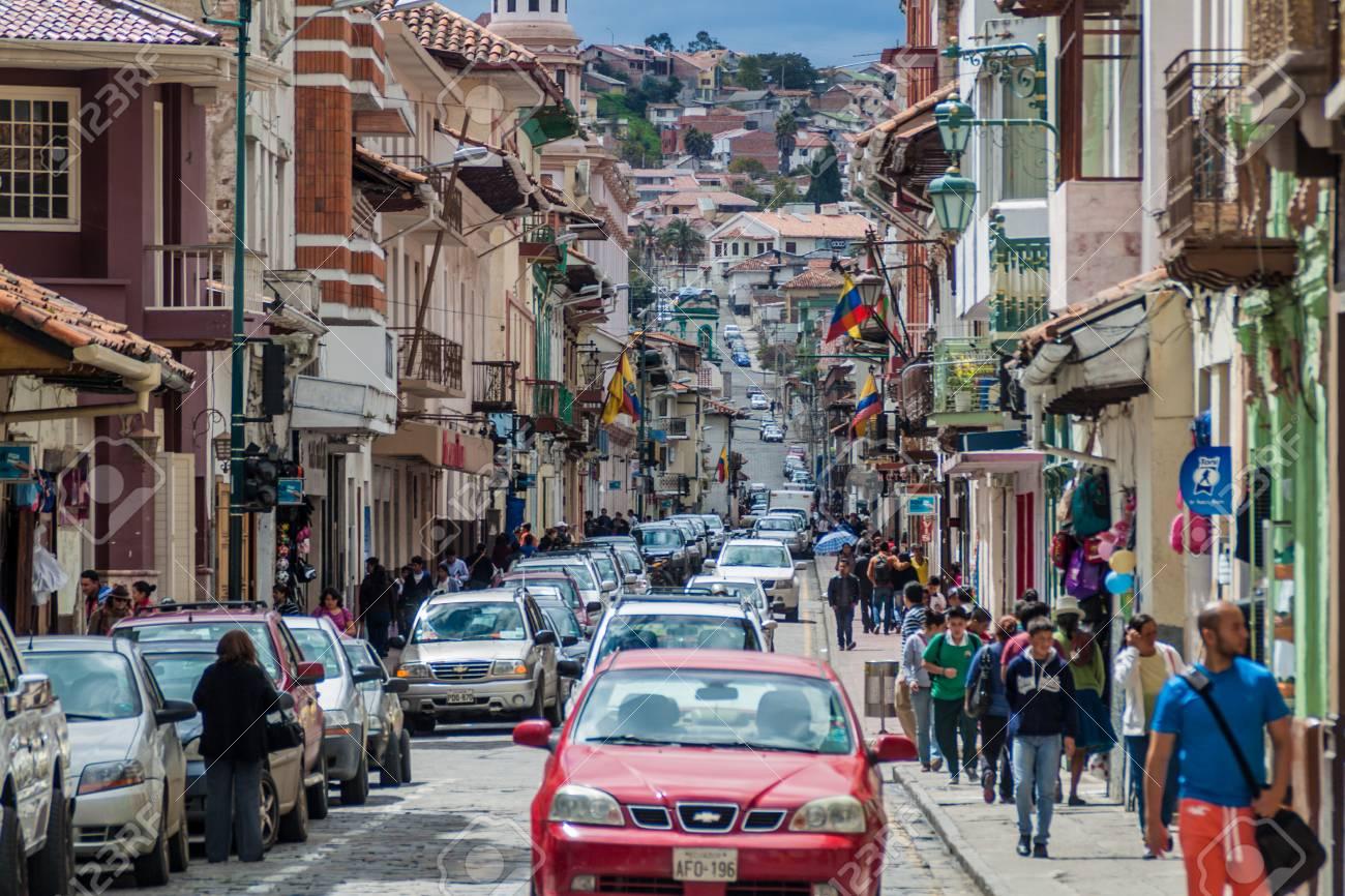 CUENCA, ECUADOR - JUNE 19, 2015: Street with old colonial buildings in the center of Cuenca, Ecuador - 61027437
