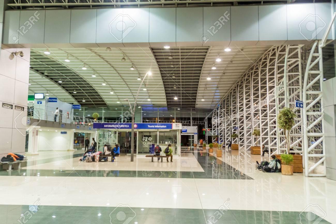 QUITO, ECUADOR - JULY 4, 2015: Interior of a modern bus terminal