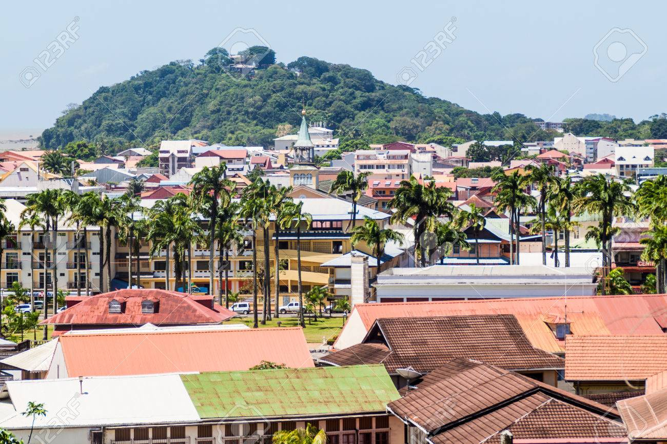 Aerial view of Cayenne, capital of French Guiana - 61170065