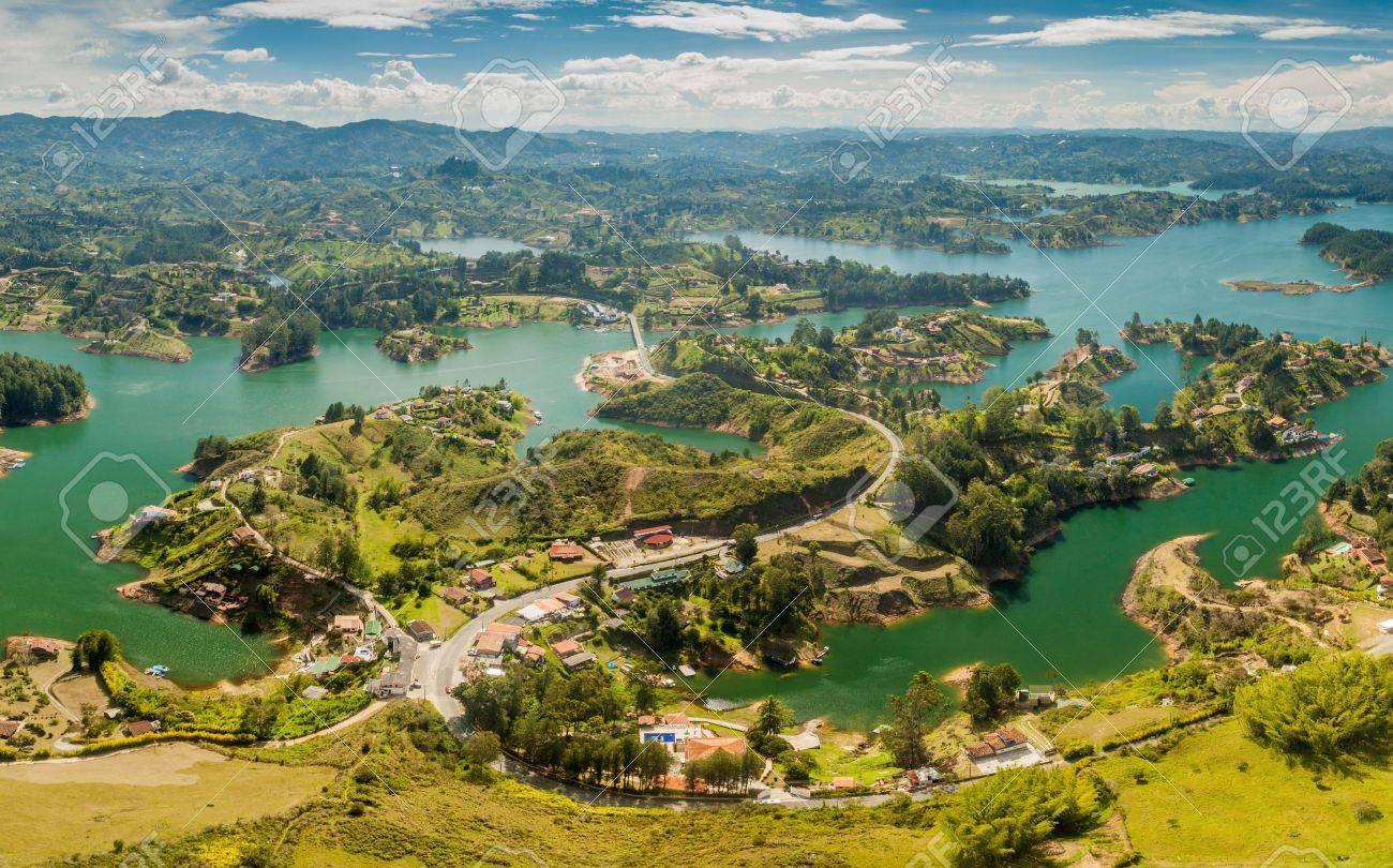 Guatape aerial view of guatape (penol) dam lake in colombia stock photo