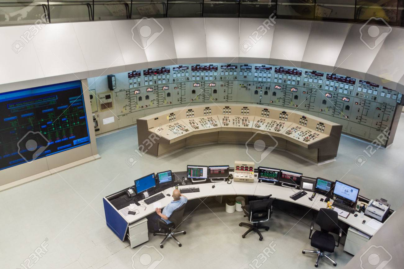 ITAIPU, BRAZIL/PARAGUAY - FEB 4, 2015: Command room of Itaipu dam on river Parana on the border of Brazil and Paraguay - 62022779