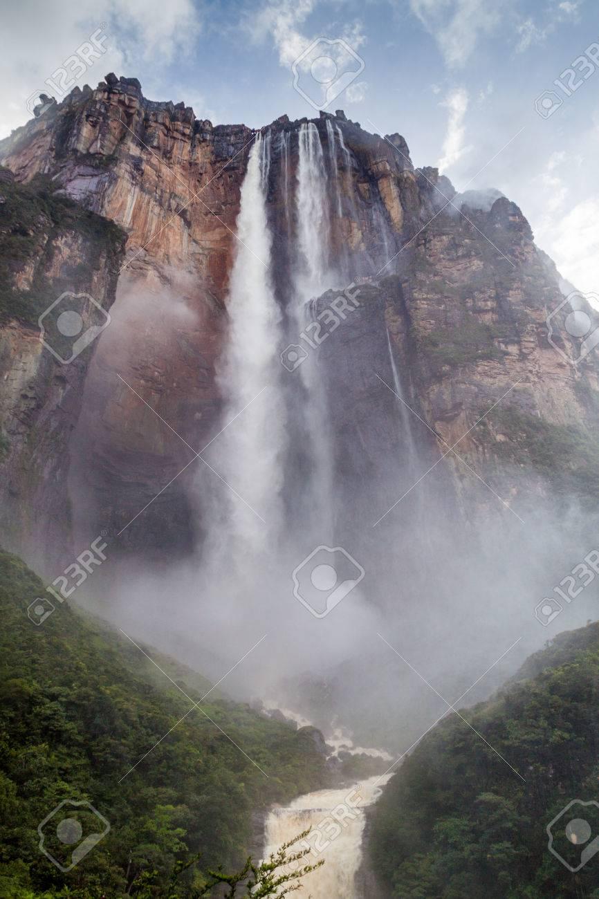 Angel Falls (Salto Angel), the highest waterfall in the world (978 m) during rainy period, Venezuela - 62268385