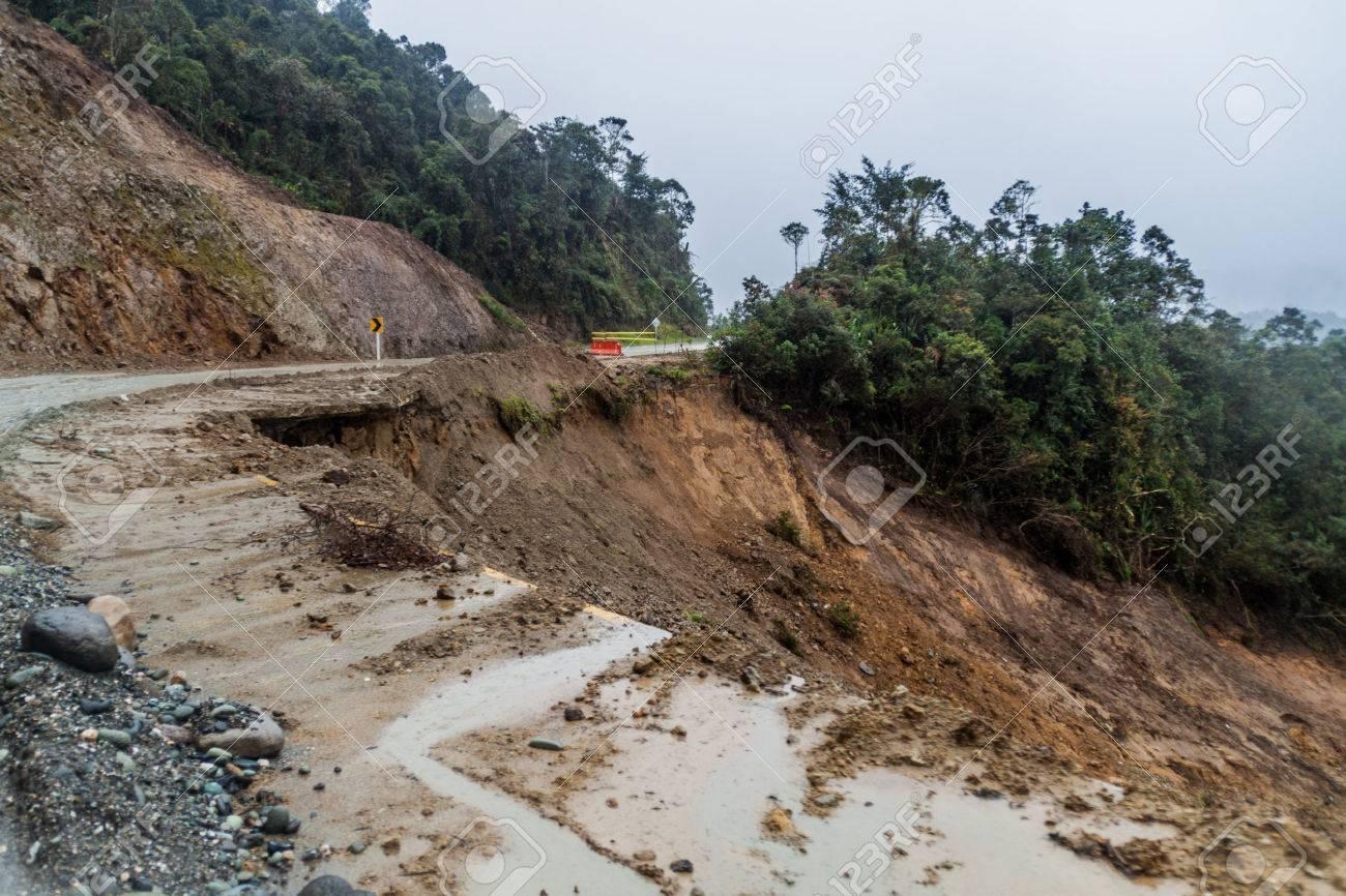 Landslide on a road in Cuenca region of Colombia - 63413553