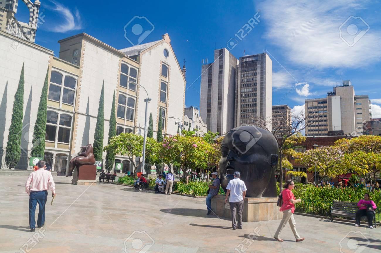 MEDELLIN, COLOMBIA - SEPTEMBER 1, 2015: Plazoleta de las Esculturas (Square of the Statues) in Medellin. Statues were designed by artist Fernando Botero. - 69670362
