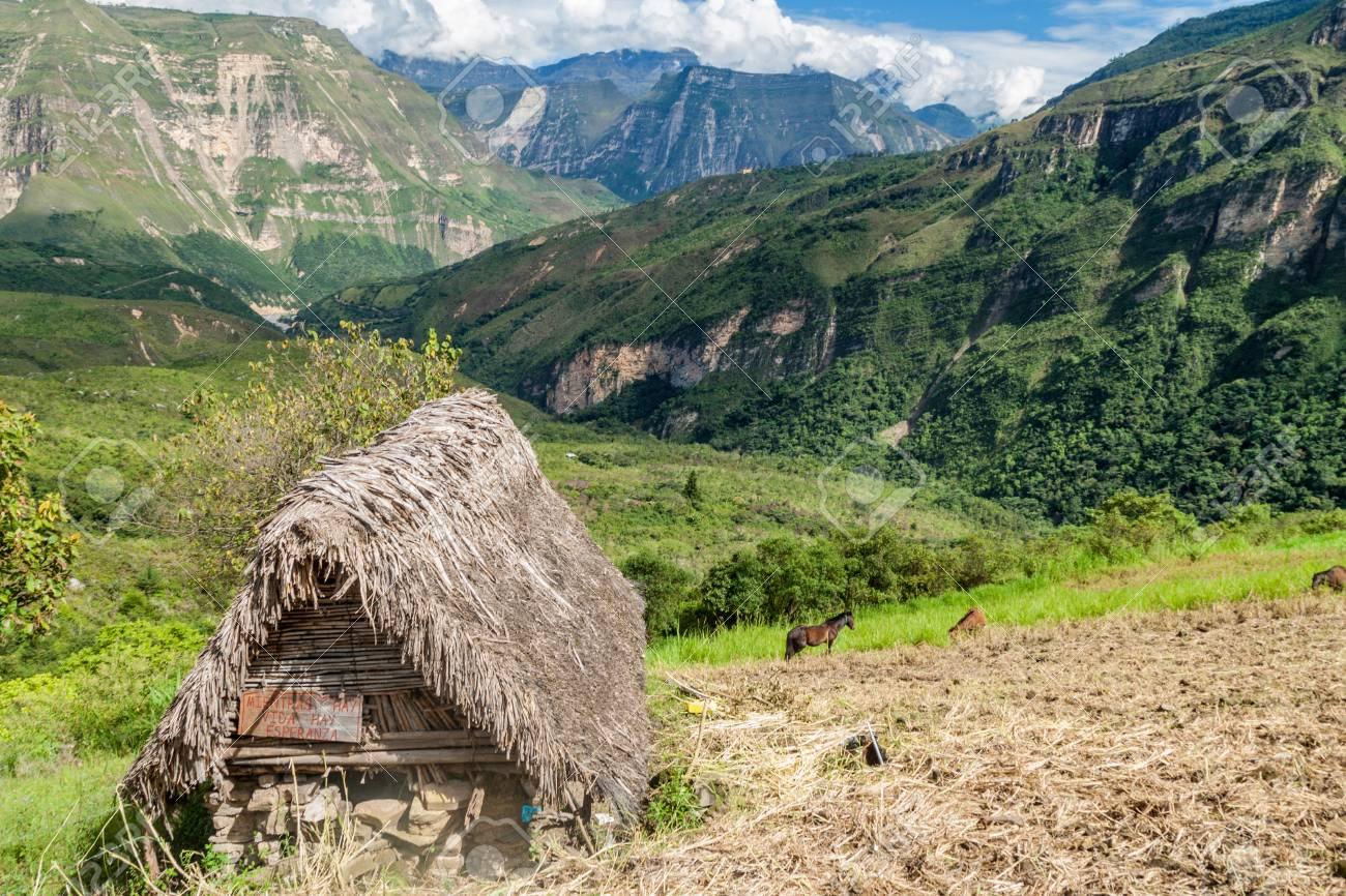 Small Rural Hut Near Catarata Del Gocta Waterfall Peru Stock Photo