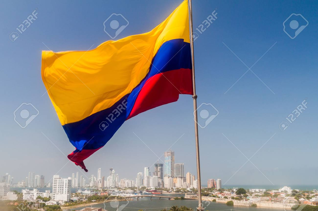 Colombian flag in Cartagena, Colombia - 78777486