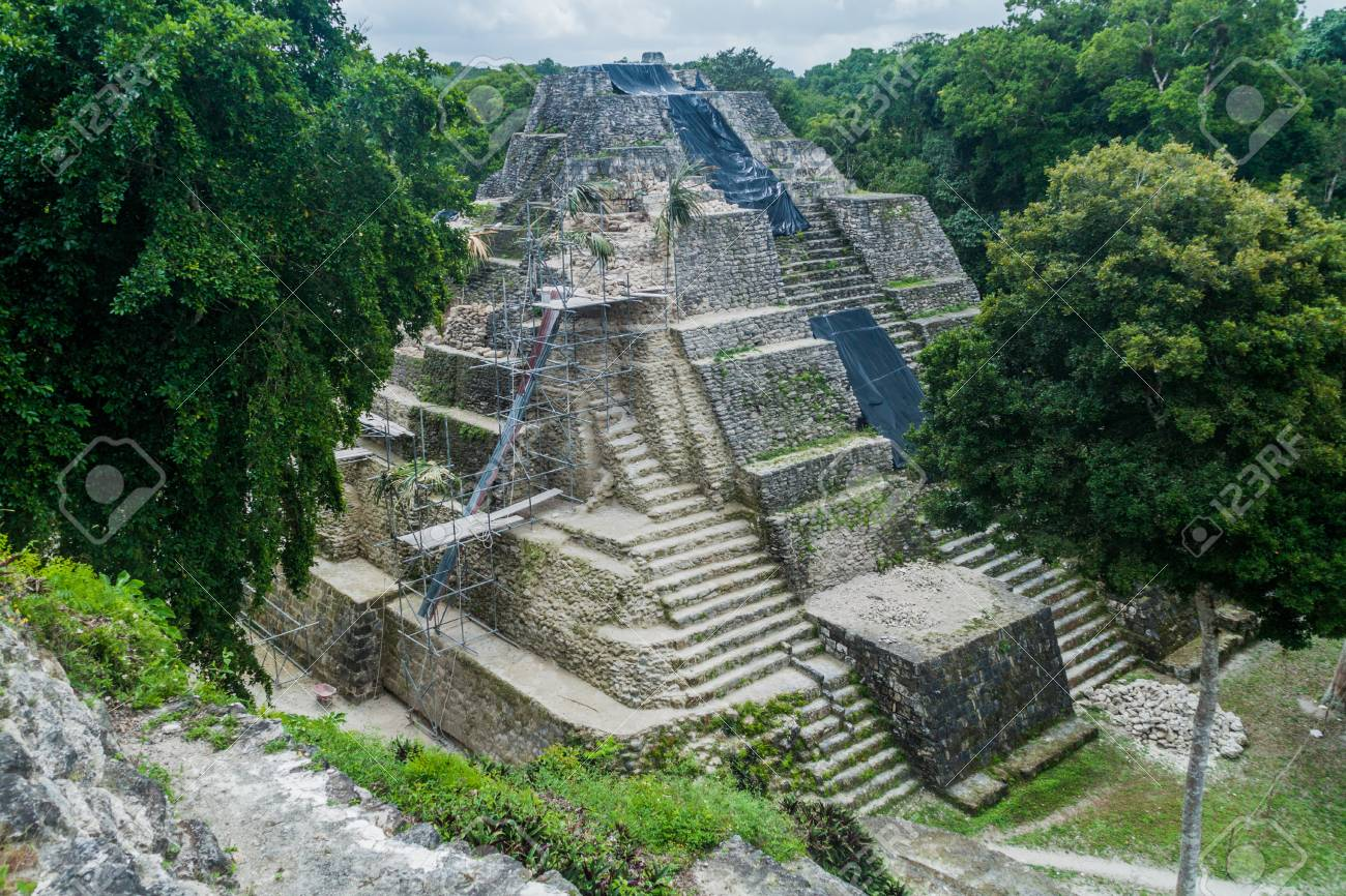 Ruins of the North Acropolis at the archaeological site Yaxha, Guatemala - 78960811